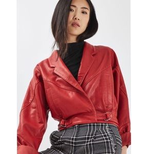 Topshop Cropped Genuine Leather Jacket Red